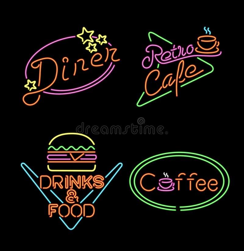 Retro neonowego światła znaka ustalony karmowy kawowy napój ilustracji