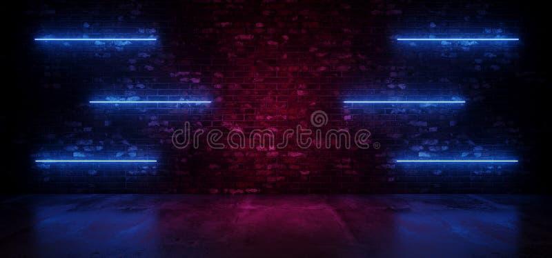 Retro neonSci Fi modernt futuristiskt neon glödande Blue Line tänder på golv för reflexion för vägg för Grungetegelstenlilor glöd royaltyfri illustrationer