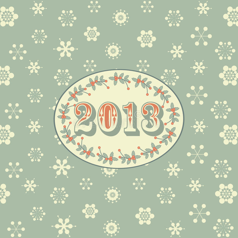 Retro new year background green vector illustration