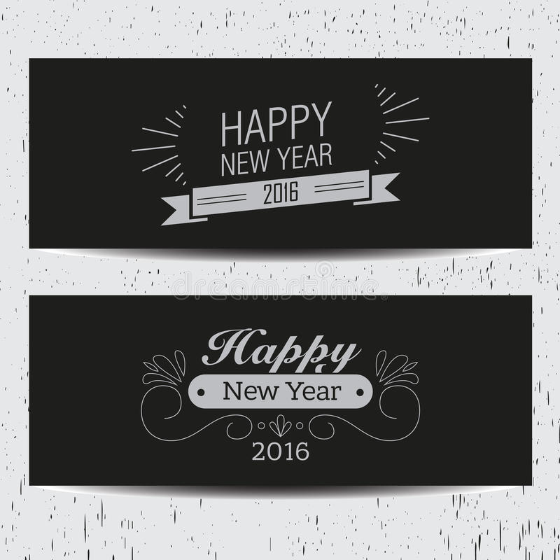 Retro new year banners royalty free illustration