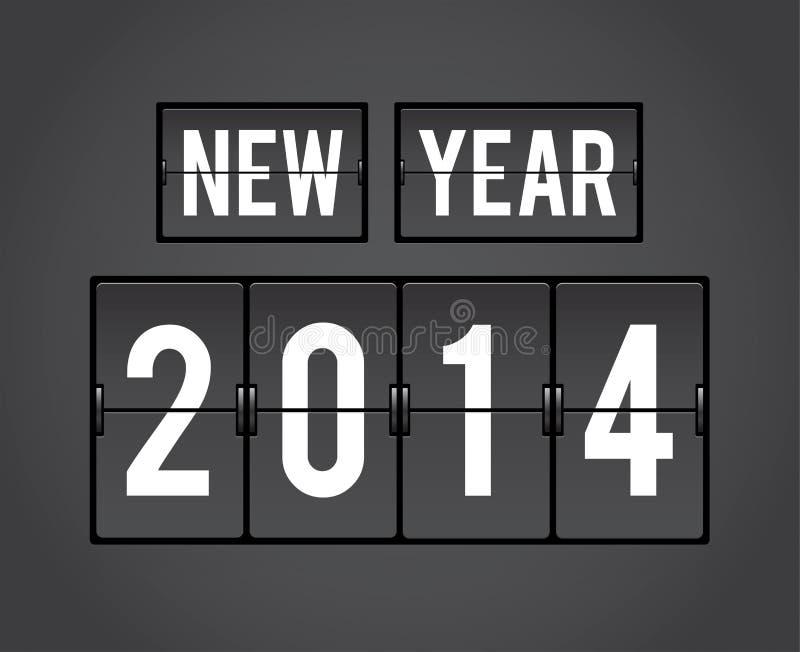 Retro New Year 2014 split-flap board stock illustration