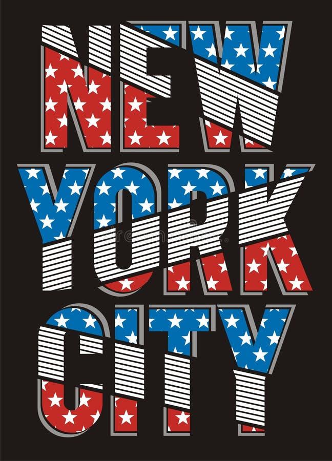 Retro New York City texture America Flag, Vector. Retro New York City Texture America Flag typography Design poster, t-shirt Printing design royalty free illustration
