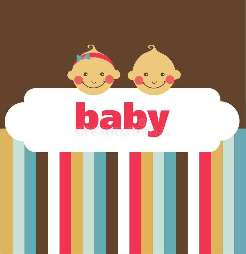 Retro newborn baby card with boy and a girl stock illustration