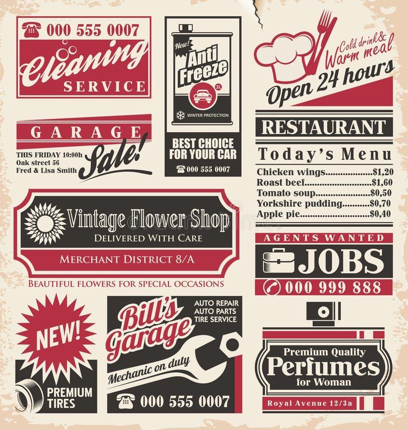 Retro Newspaper Ads Design Template Stock Vector Illustration Of