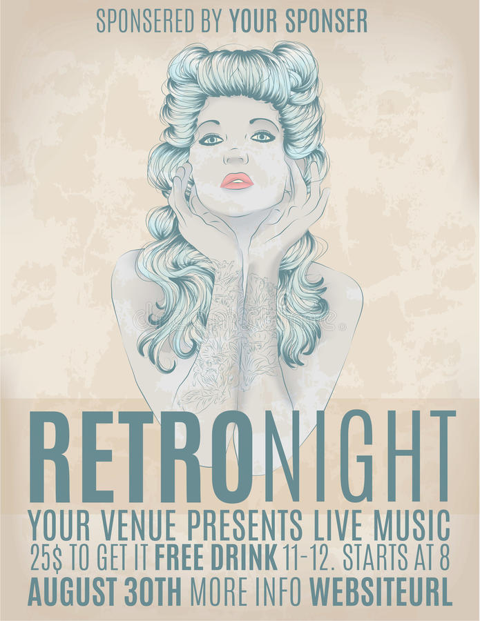 Retro night invitation flyer with rockabilly girl. Beautiful woman with retro hair on party flyer royalty free illustration
