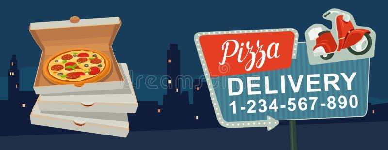 Retro noc znak z strzała Billboard w retro stylu z światłami Doręczeniowa pizza na czerwonym moped Odosobniony wektorowy mieszkan ilustracja wektor