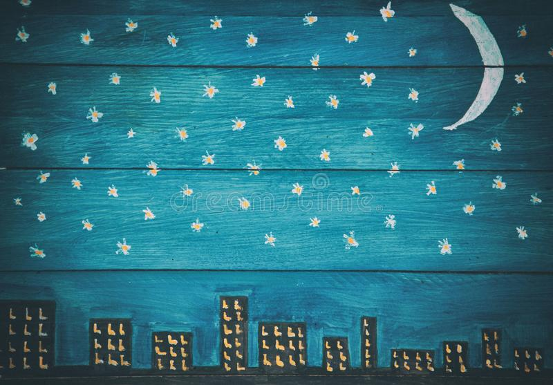 Retro nocnego nieba panelu drewniany tło zdjęcia royalty free