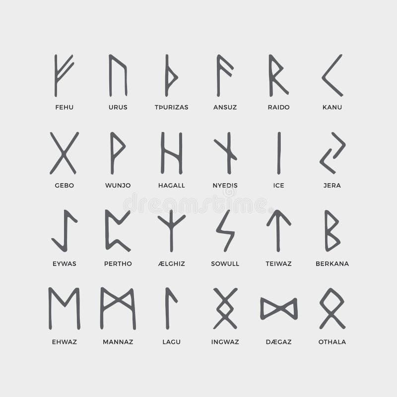Retro norse Skandinavische runen Schets Keltische oude brieven Oud hiëroglyfisch geheim alfabet De middeleeuwse vector van Viking vector illustratie