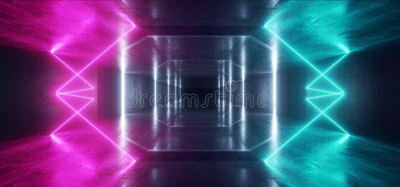 Retro Nowożytnego Futurystycznego Purpurowego Błękitnej rewolucjonistki Sci Fi Neonowego światła kształtów wiązek laserowych Grun royalty ilustracja