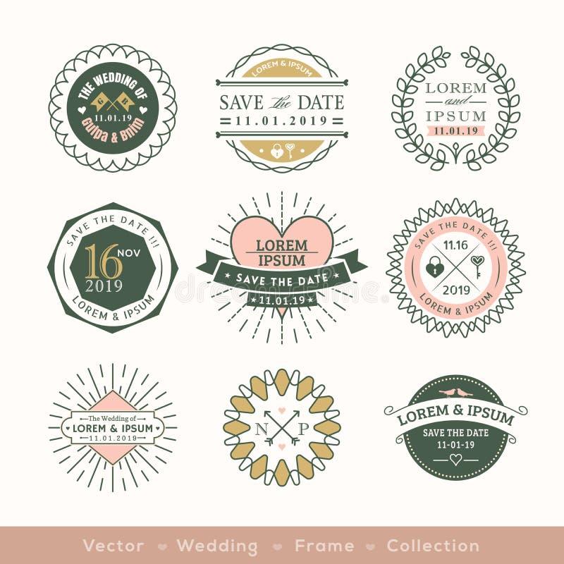 Retro nowożytny ślubny logo ramy odznaki projekta element ilustracja wektor