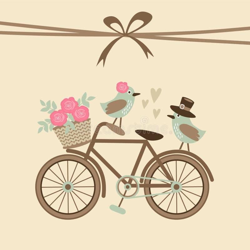 Retro nozze sveglie o biglietto di auguri per il compleanno, invito con la bicicletta, uccelli
