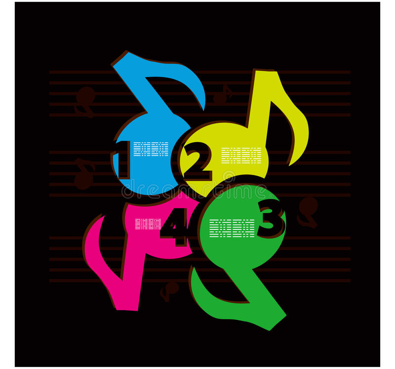 Retro numrerar musikdesignmallen. Vektorillustration royaltyfri illustrationer