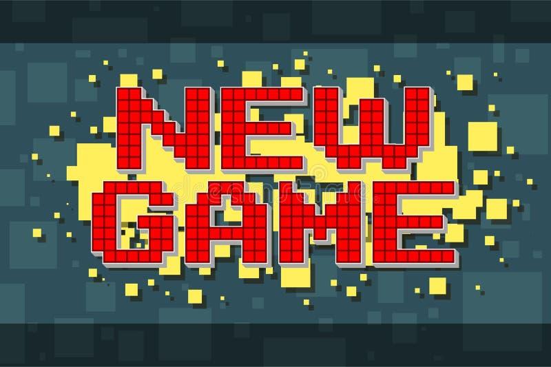 Retro nuovo bottone del gioco del pixel rosso per i video giochi royalty illustrazione gratis