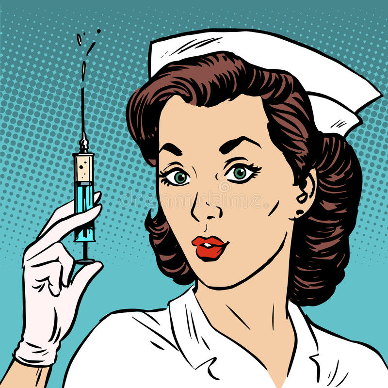 Free Retro Nurse Gives An Injection Syringe Medicine Health Stock Image - 54411011