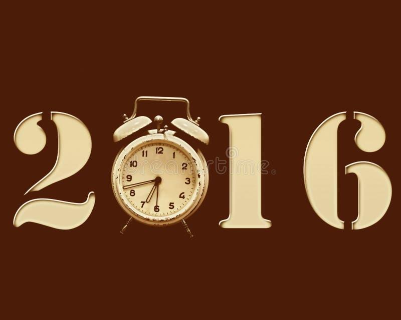 Retro nytt år 2016 royaltyfri illustrationer