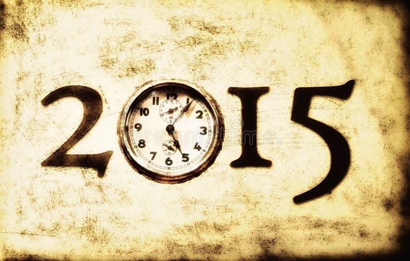 Retro nytt år 2015 för Grunge royaltyfri illustrationer