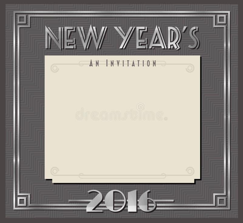 Retro nytt års partikort eller inbjudan Art Deco Style vektor illustrationer
