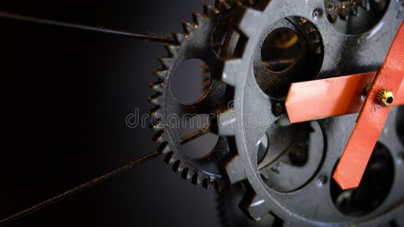 Retro Ośniedziałe mechanika zegaru przekładnie obraz stock