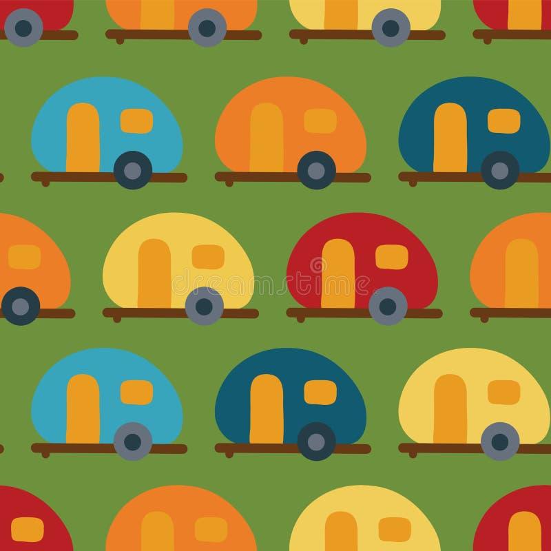 Retro obozowicza samochodu dostawczego wektoru bezszwowy wzór caravansary ilustracja wektor