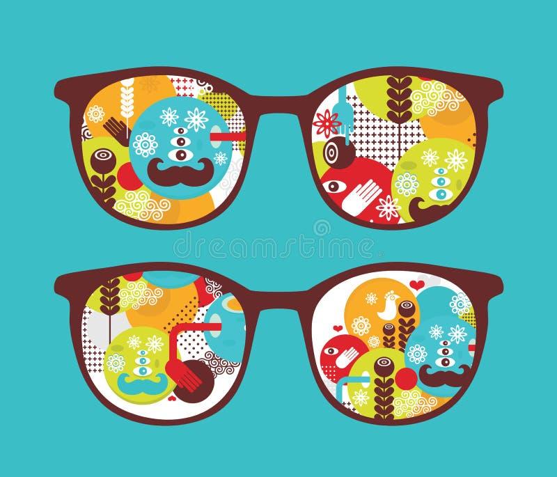 Retro occhiali da sole con la riflessione della molla in. illustrazione vettoriale
