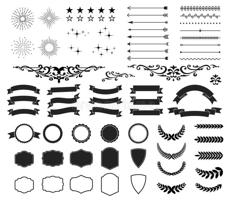 Retro och för tappningdesignsamling uppsättning 64 beståndsdelpilar, starbursts, band, ramar, etiketter, kalligrafivirvlar stock illustrationer