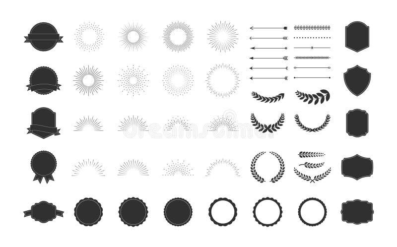 Retro och f?r tappningdesignsamling upps?ttning 64 best?ndsdelpilar, starbursts, band, ramar, etiketter, kalligrafivirvlar, prydn stock illustrationer