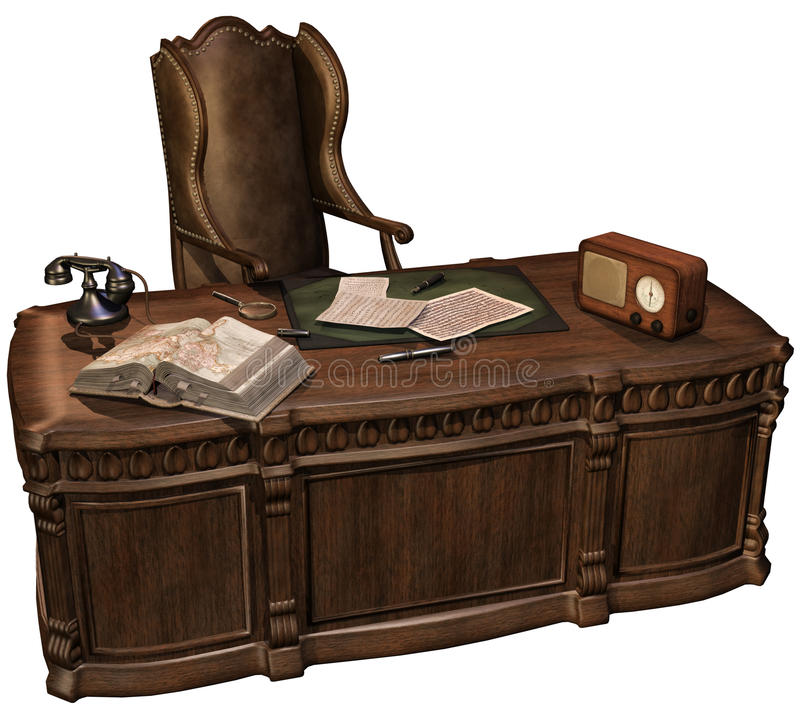 Retro office desk. 3D render of a retro office desk with a radio, phone, books, and pens vector illustration