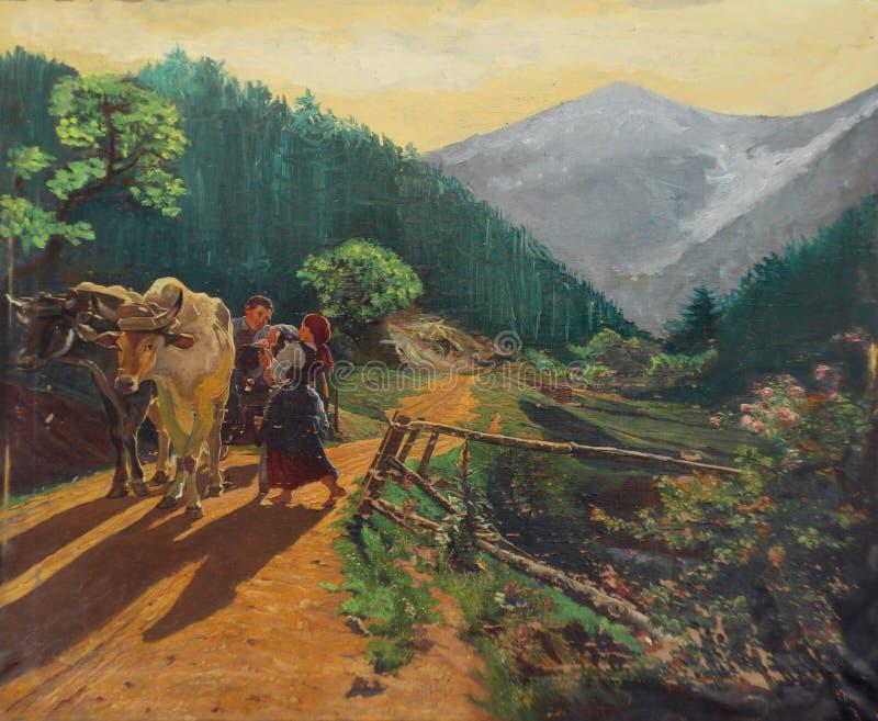Download Retro Oil Paint - Idyllic Village Stock Illustration - Image: 30811081