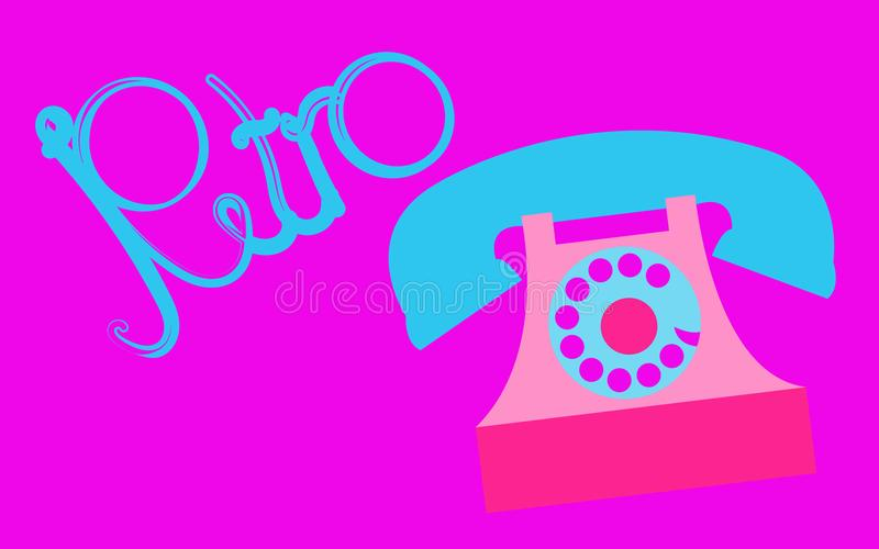 Retro, old, antique, hipster, vintage, ancient, disk, pink phone with a tube with a retro inscription written in beautiful blue le stock illustration