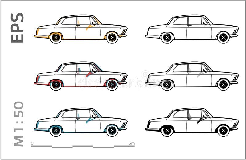 Retro old bmw car vector icons set for architectural drawing and illustation vector illustration