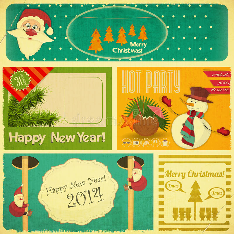 Retro Old Merry Christmas and New Years Card royalty free illustration