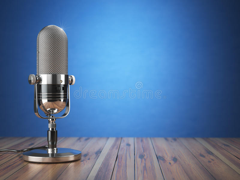 Retro old microphone. Radio show or audio podcast concept. Vintage microphone on blue background. stock illustration