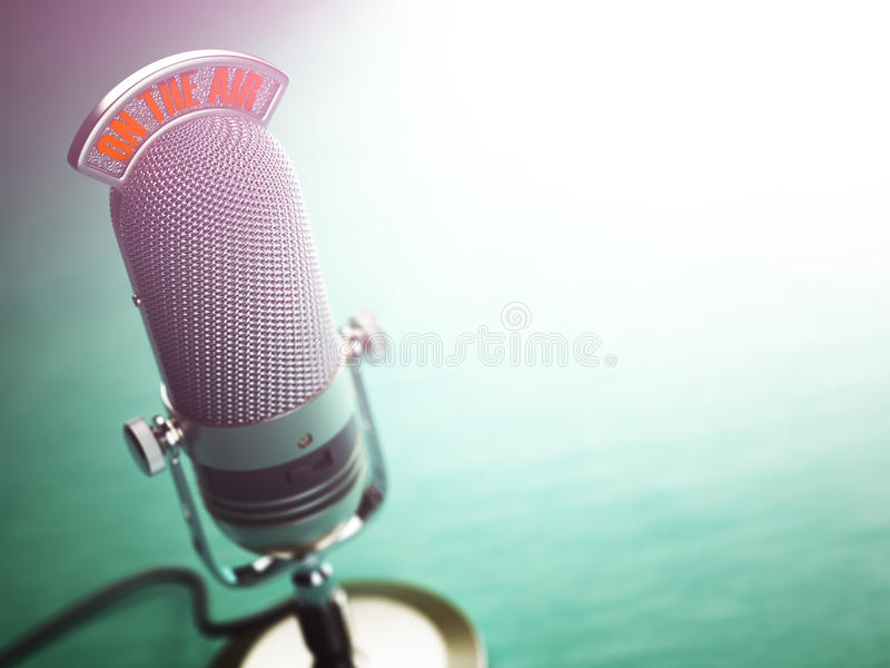 Retro old microphone with text on the air. Radio show or audio p vector illustration