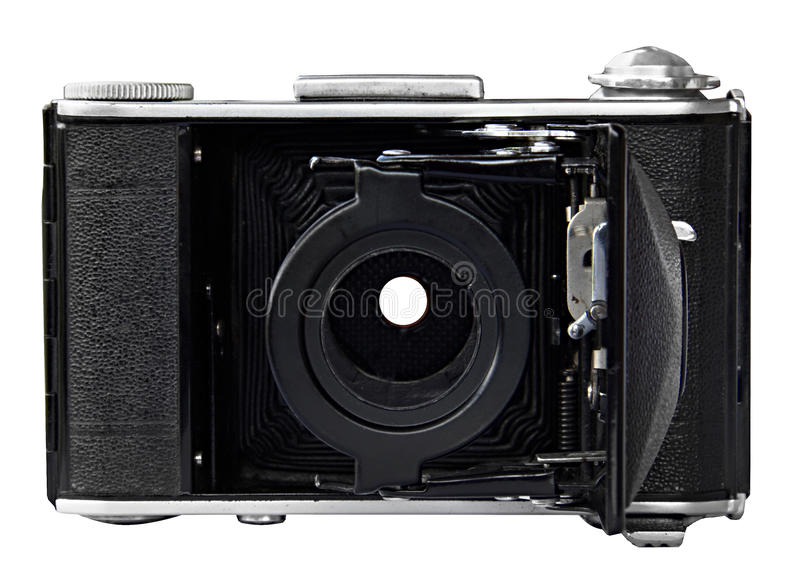 Retro old photo camera on white background. Front view, without lens. royalty free stock image