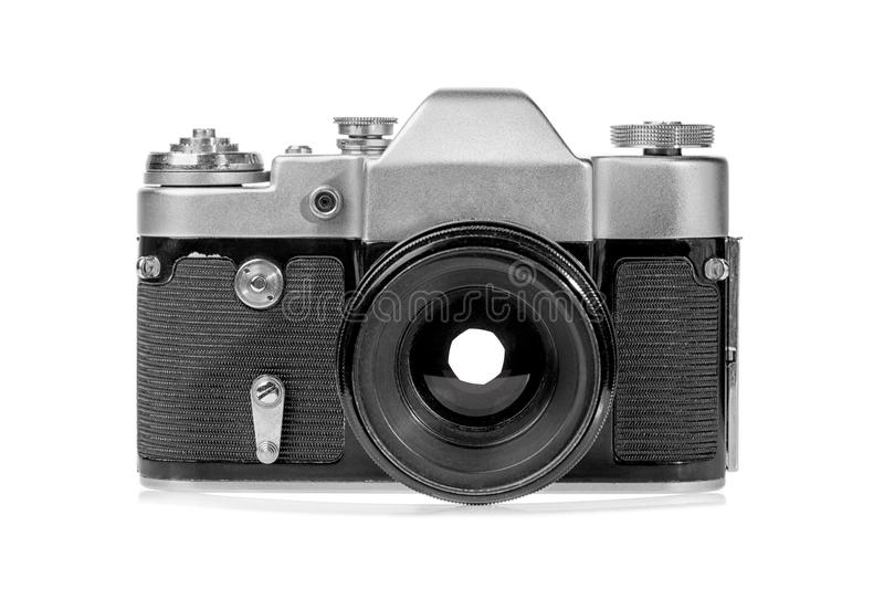 Retro old silver film photo camera isolated on white background.  stock image