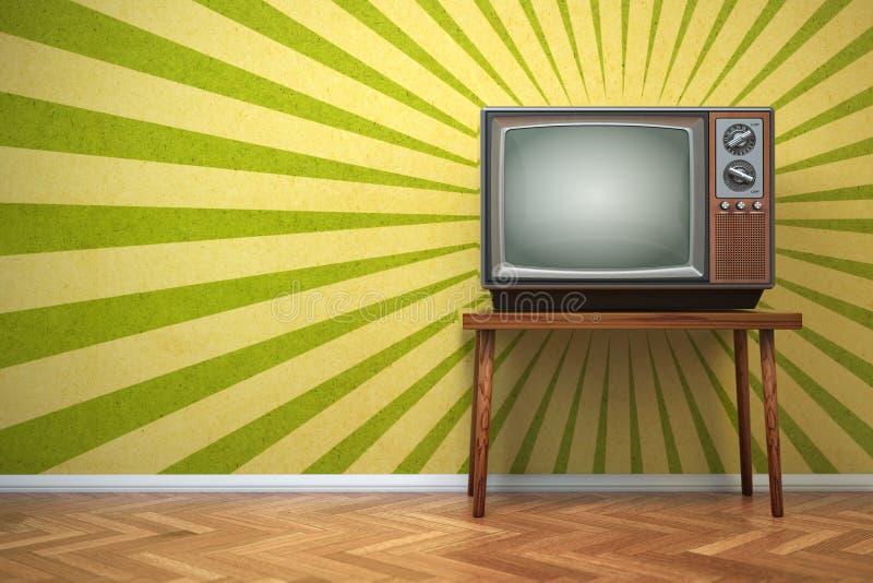 Retro old TV set on the vintage background. 3d illustration vector illustration
