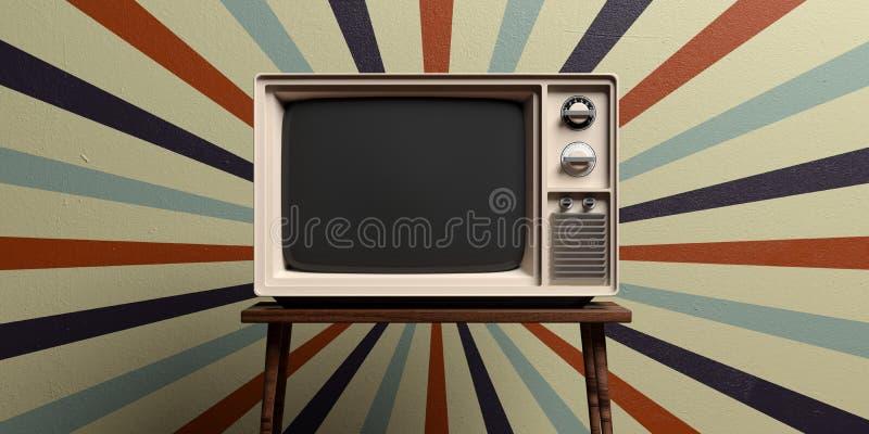Retro old tv on circus vintage wall background. 3d illustration stock illustration