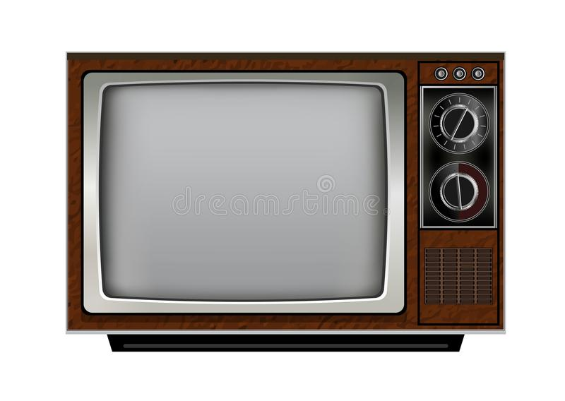 Retro old vintage television on white background royalty free illustration