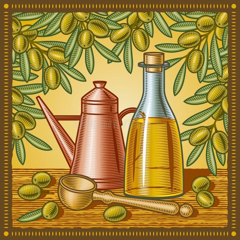 Retro olijfoliestilleven stock illustratie
