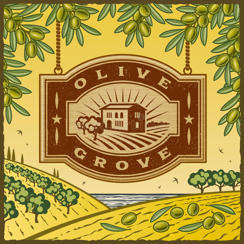 Retro Olive Grove. Retro landscape with Olive Grove sign in woodcut style. Vector illustration with clipping mask stock illustration