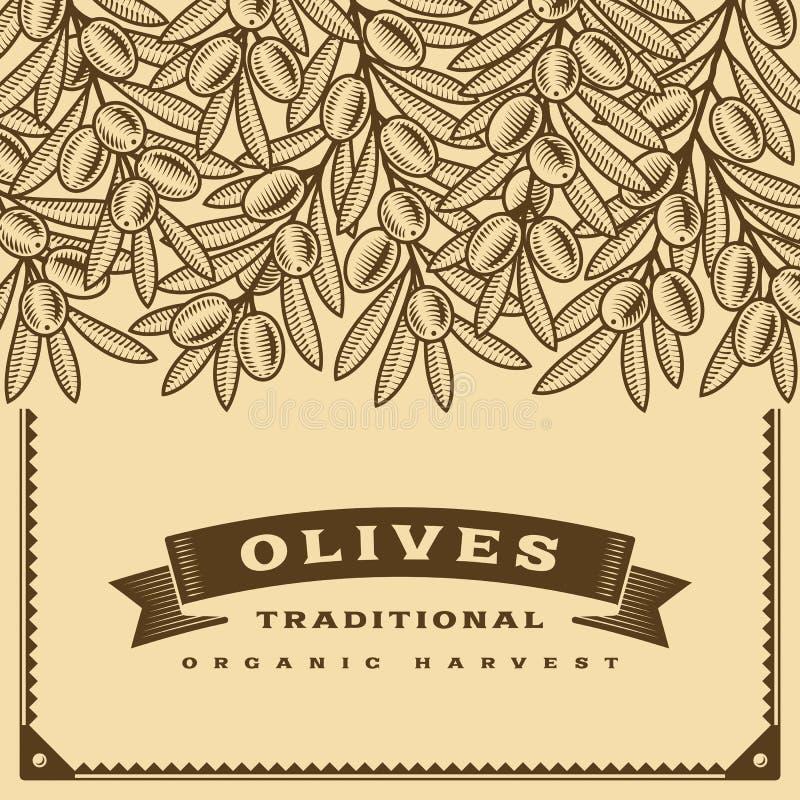 Retro oliwny żniwo karty brąz ilustracji