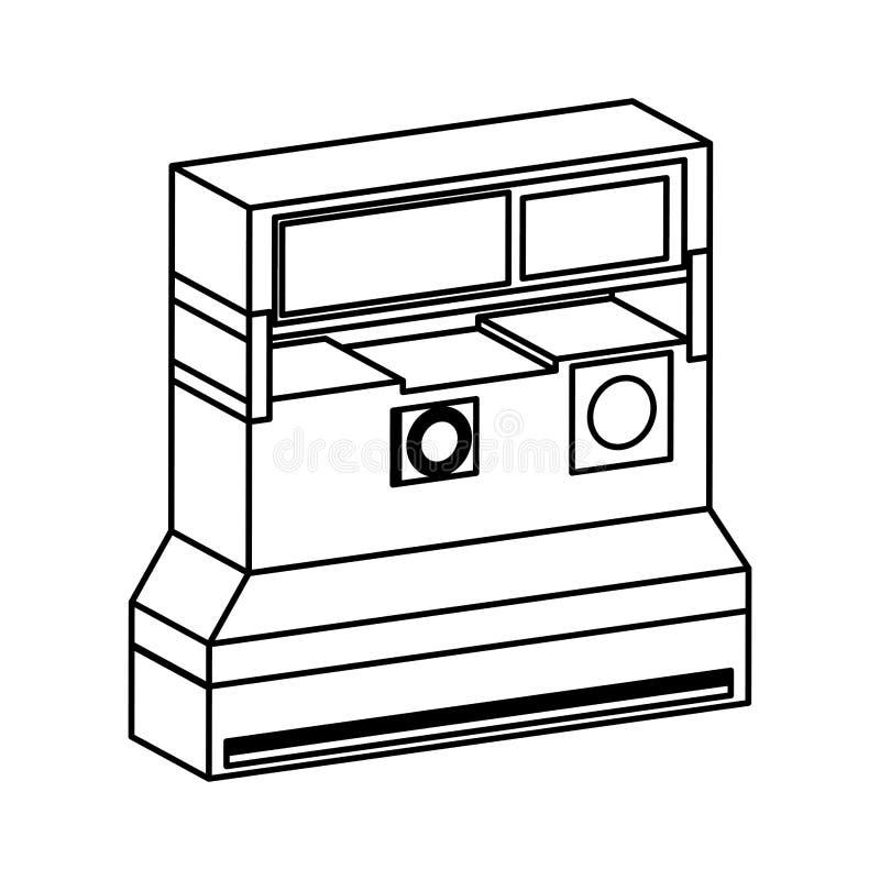 Retro onmiddellijk camera fotografisch geïsoleerd pictogram royalty-vrije illustratie