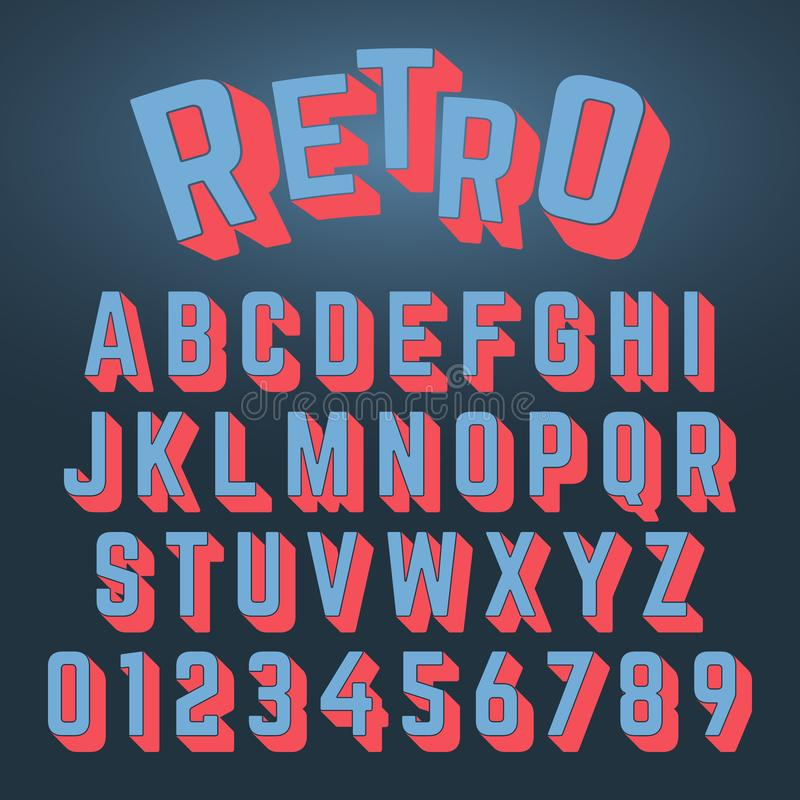 Retro ontwerp van de alfabetdoopvont royalty-vrije illustratie
