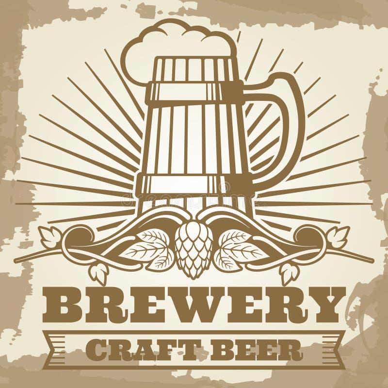 Retro ontwerp van de brouwerijaffiche met bieretiket stock illustratie
