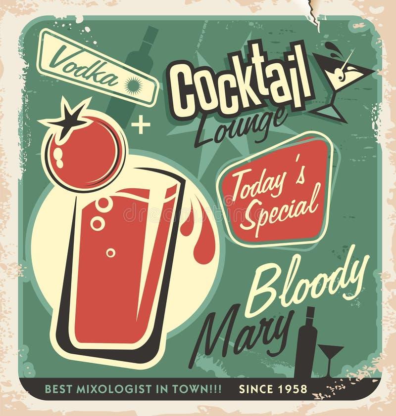 Retro ontwerp van de cocktailbar vectoraffiche vector illustratie