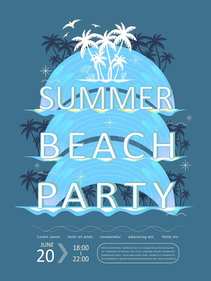 Retro ontwerp van de de partijaffiche van het de zomerstrand vector illustratie