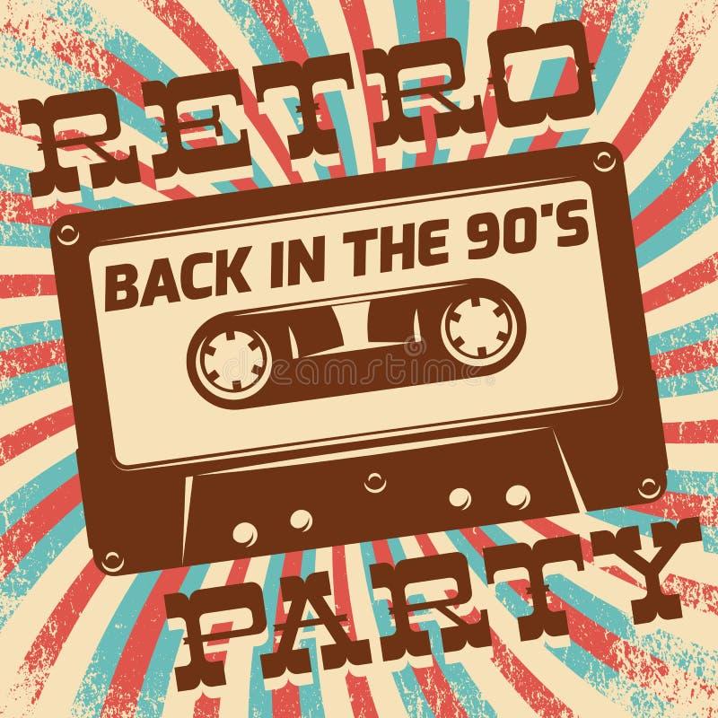 Retro ontwerp van de partijaffiche De gebeurtenis van de discomuziek bij nachtclub, uitstekend uitnodigingsmalplaatje vector illustratie