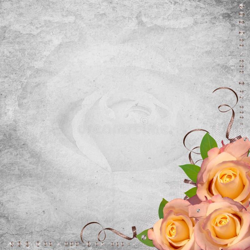 Retro ontwerpachtergrond met rozen stock illustratie
