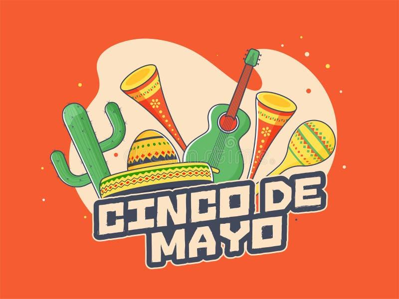 Retro orange background poster or flyer design for Cinco De Mayo party celebration. vector illustration