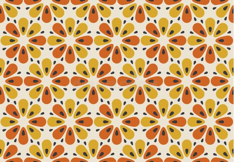 Retro- orange und gelbes Blumenmotiv der Farbe 60s Geometrisches Blumen lizenzfreie abbildung